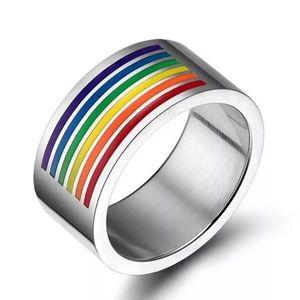 Pride Colorful Rainbow Wedding Engagement Ring